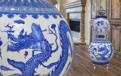 Kínai kék-fehér porcelán stílusú kézzel festett hangfal